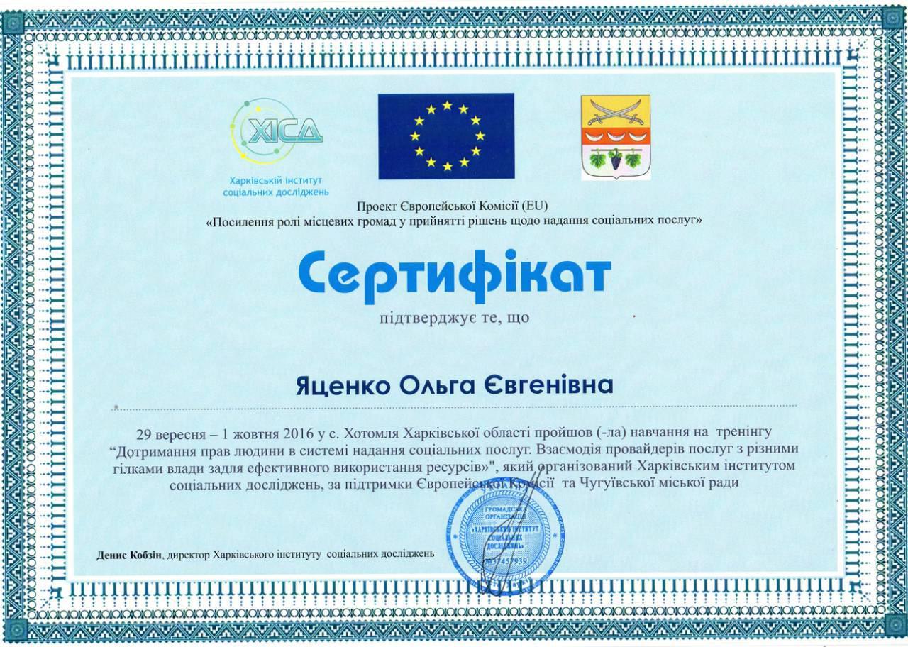сертификат дотримання прав людини яценко